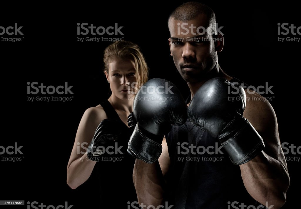 Two fighters posing for the camera stock photo