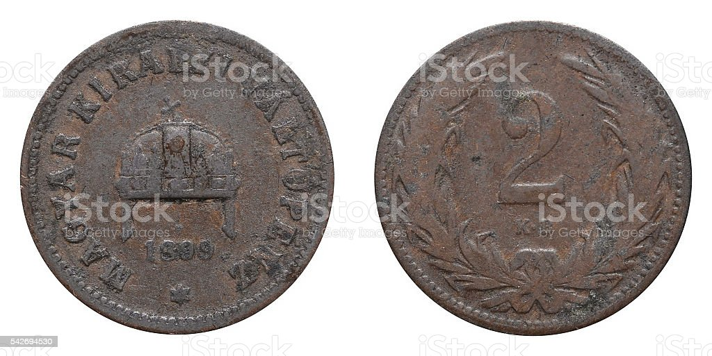 Two Filler coin formerly used in Hungary stock photo