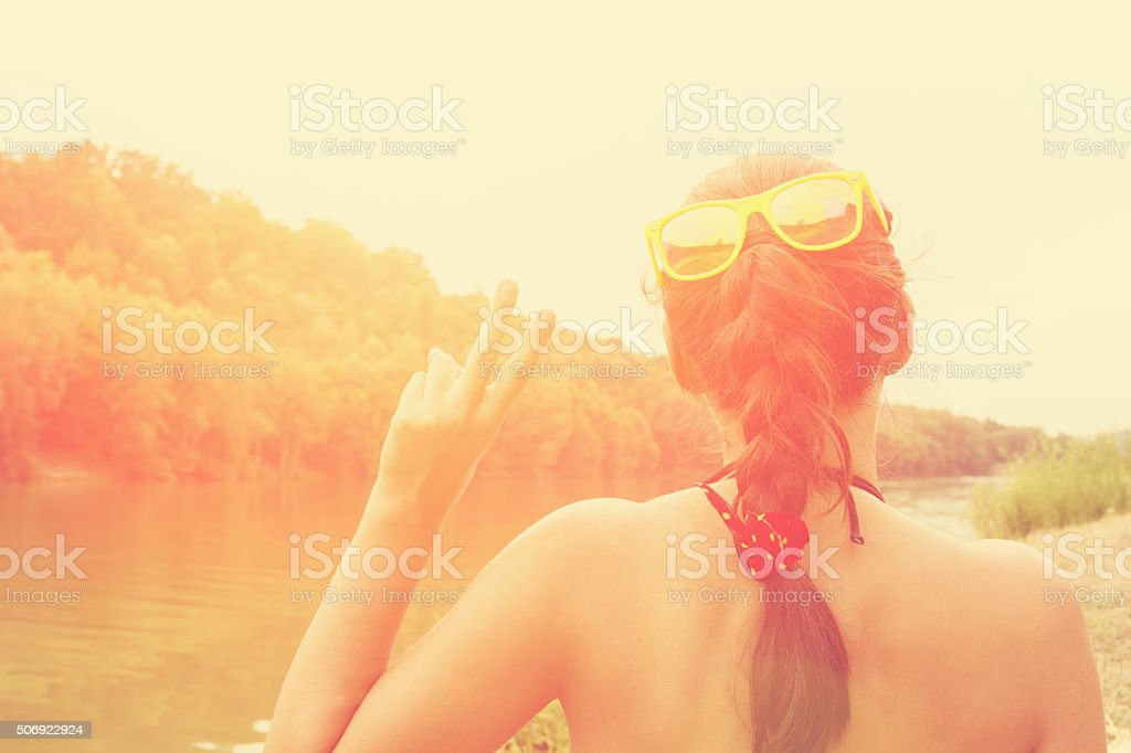 Two fingers - conceptual symbol for peace. stock photo