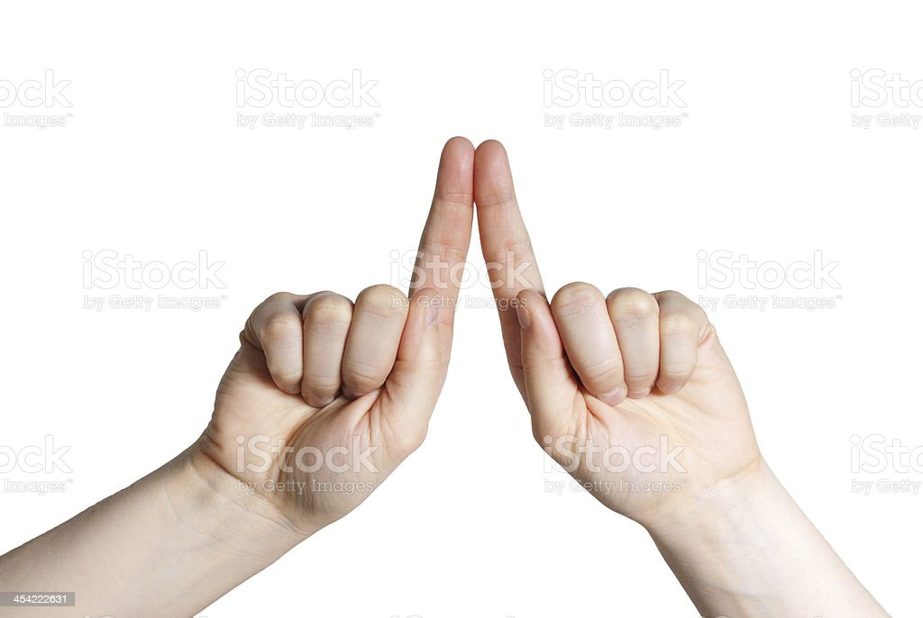 two fingers stock photo