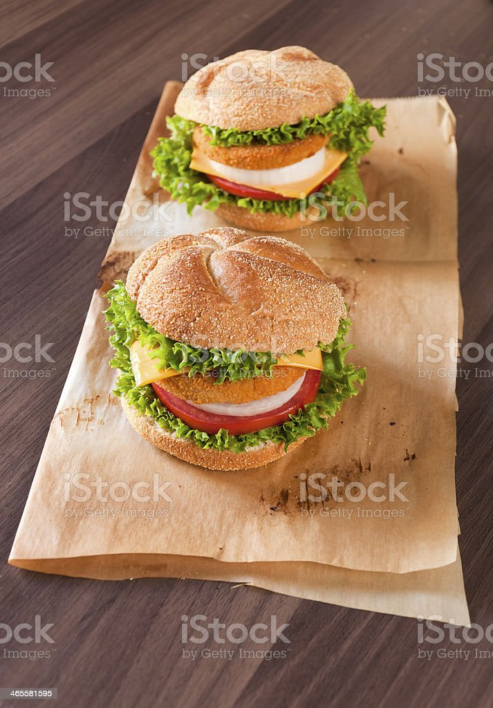 Two fish burgers royalty-free stock photo