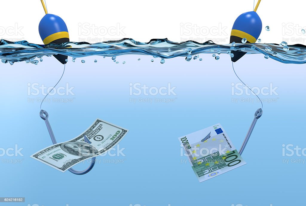 two fish hooks with banknotes stock photo