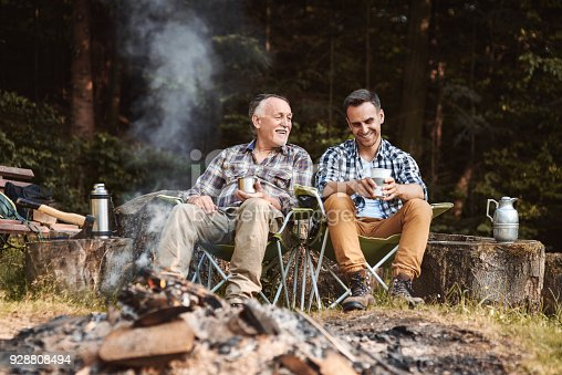 istock Two fishermen camping in forest 928808494