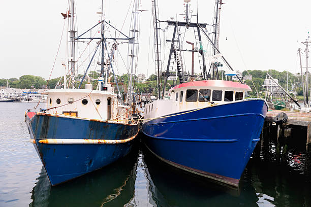 Two Fishing Trawlers tied up at dockside in Gloucester Two Fishing Trawlers tied up at dockside in Gloucester, Cape Ann, USA gloucester massachusetts stock pictures, royalty-free photos & images