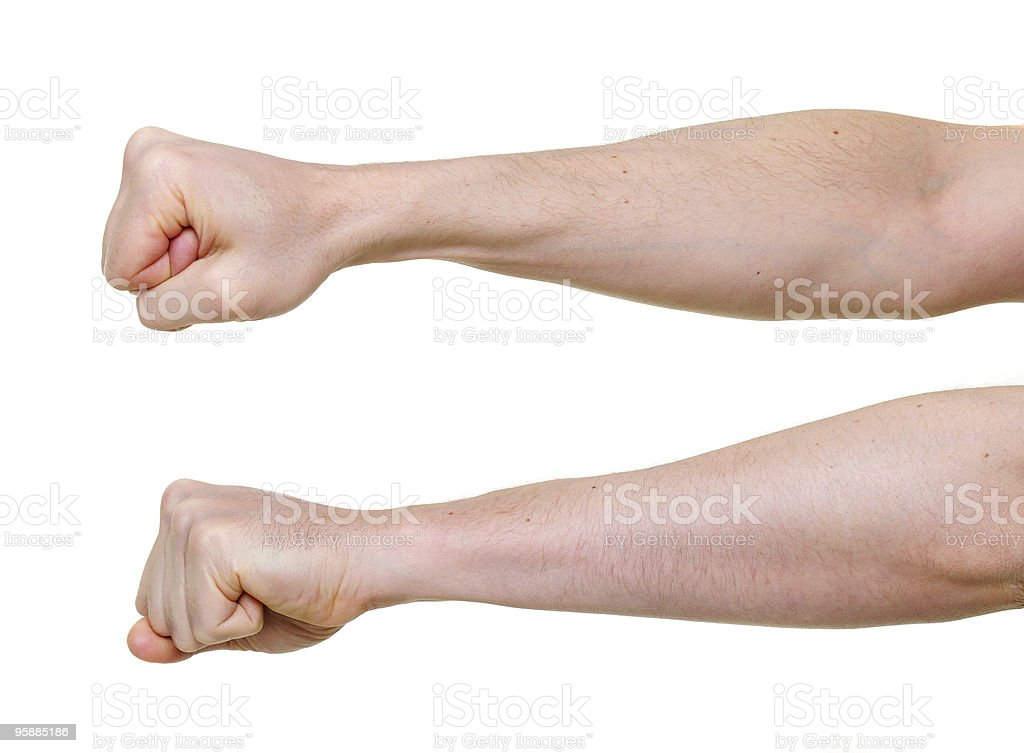 two fists from different side angles isolated on white background stock photo