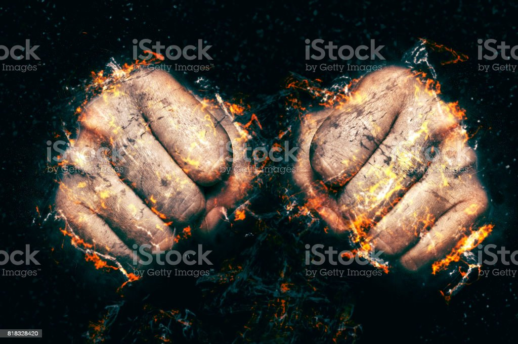 Two fists in flame, fire illustration. stock photo