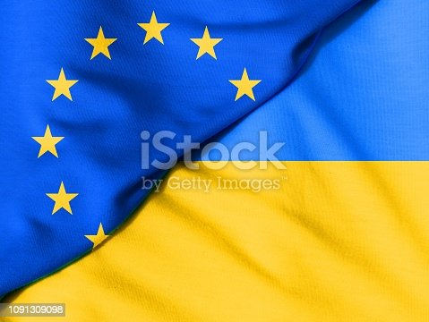istock Two flags. Flag of the European Union. Flag of Ukraine. 1091309098
