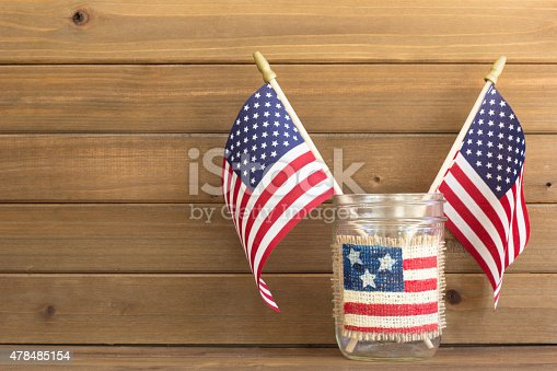 518726782 istock photo Two Flags for the 4th of July 478485154