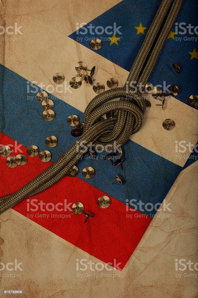 Two flags of EU and Russia stock photo