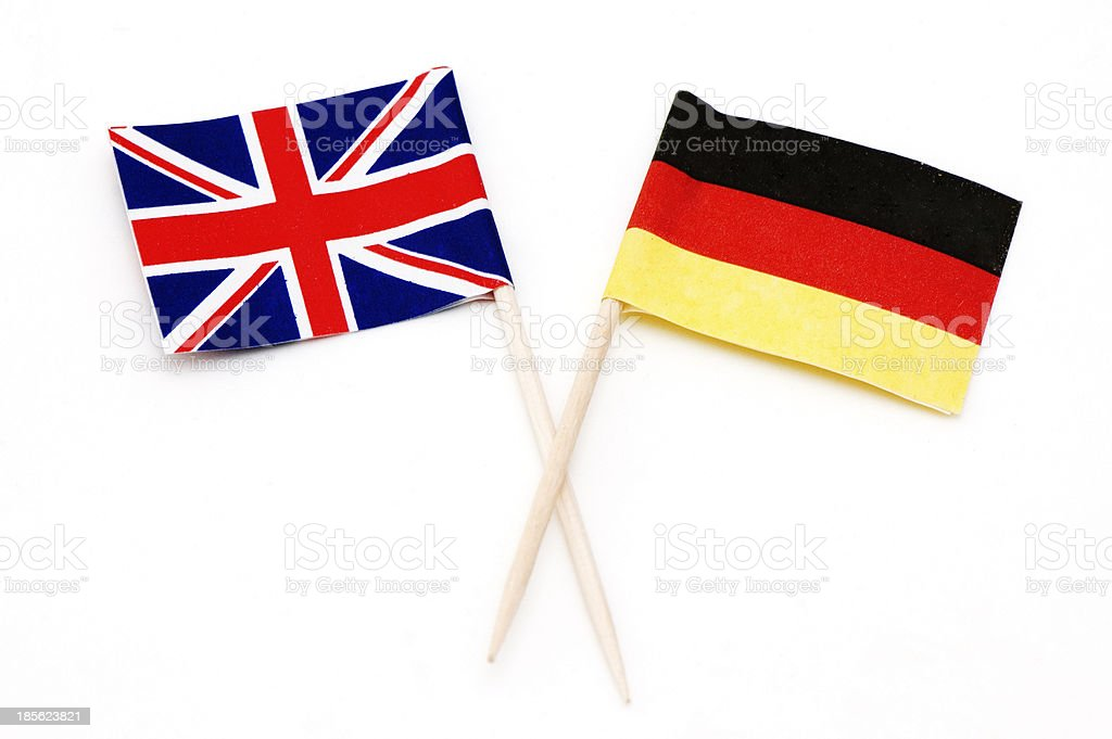 Two Flags of Germany and UK royalty-free stock photo