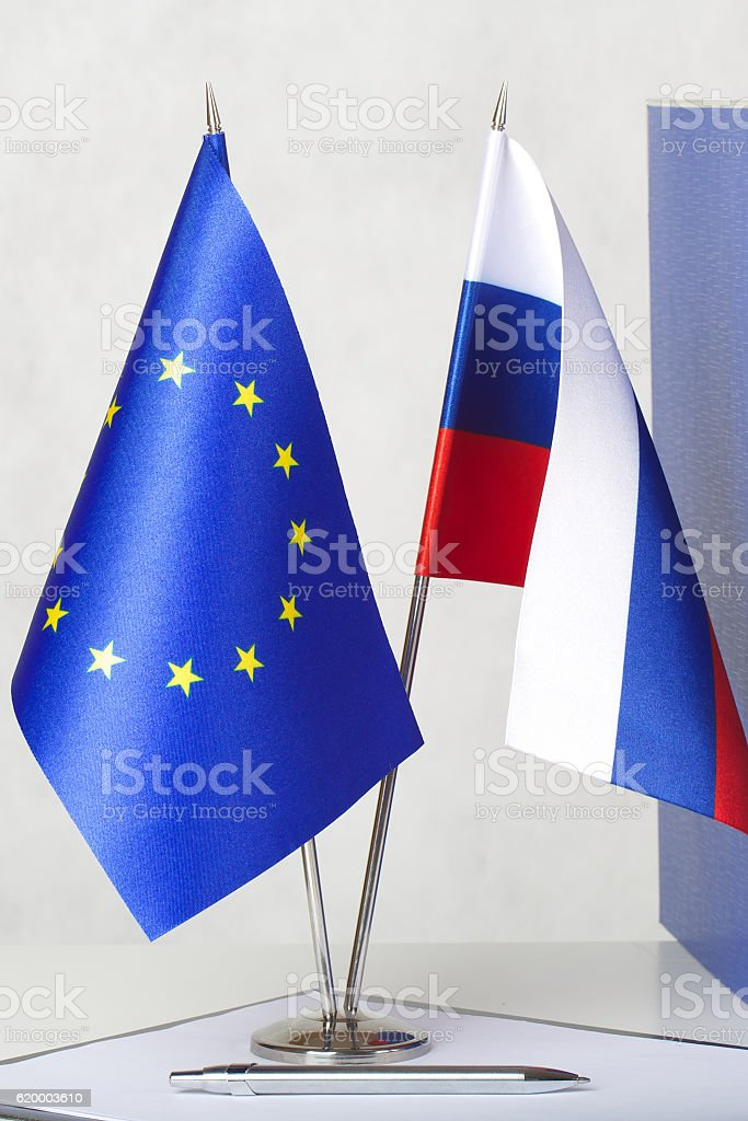 Two flags of the EU and Russia stock photo