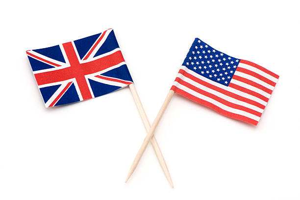 Two Flags of USA and UK. stock photo