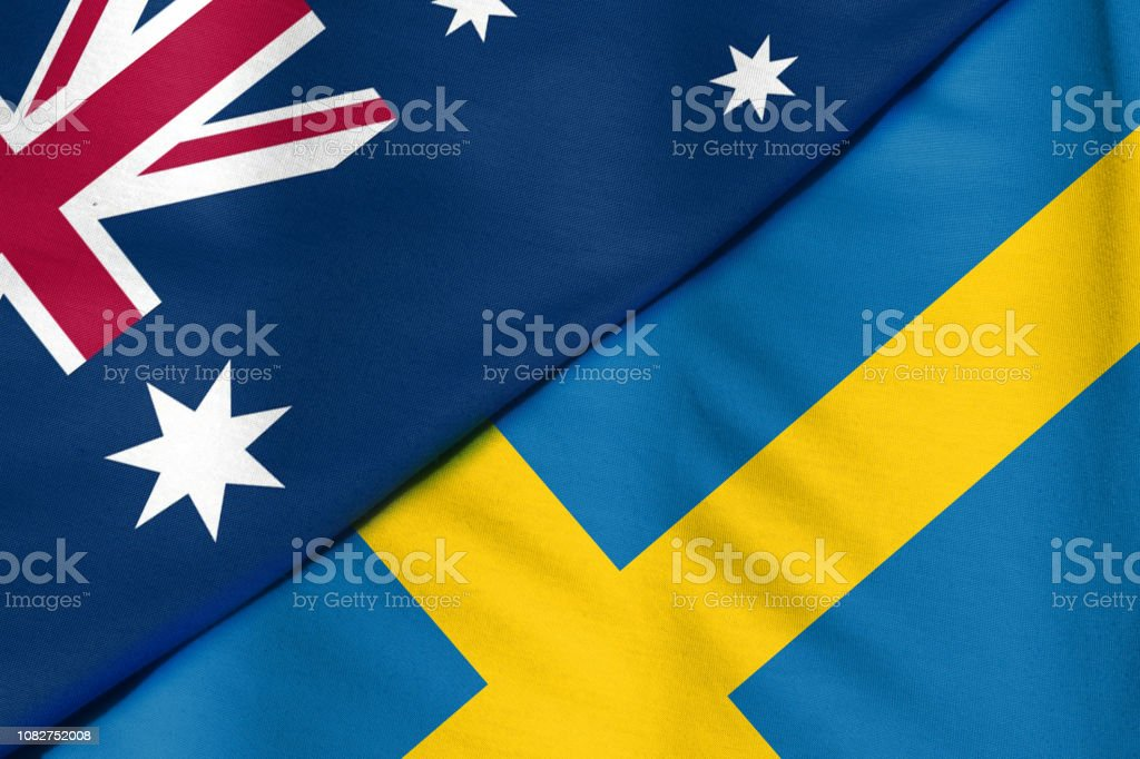 Two Flags. Sweden and Australia stock photo