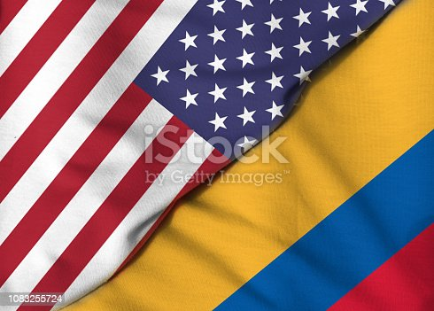 istock Two Flags. United States. Republic of Colombia 1083255724