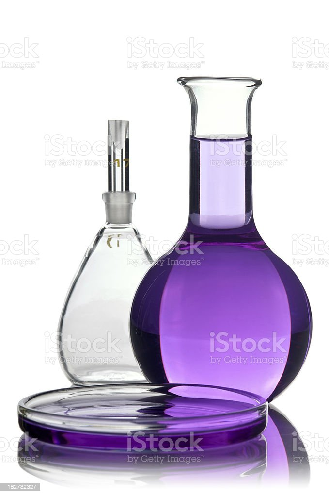 Two flasks and a Petri dish royalty-free stock photo