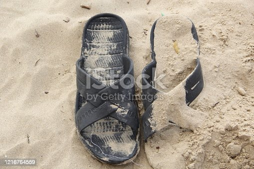 959792752 istock photo Two flip-flops on the sand by the sea 1216764559