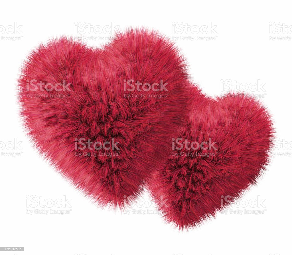 Two Fluffy Hearts(XL) stock photo