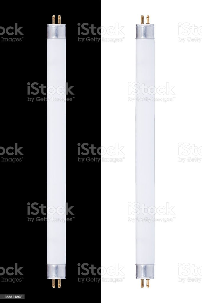 Two Fluorescent tubes isolated on white and black stock photo