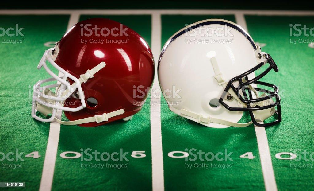 Two Football Helmets stock photo