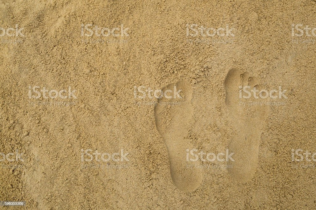 Two footprints  in the sand royalty-free stock photo