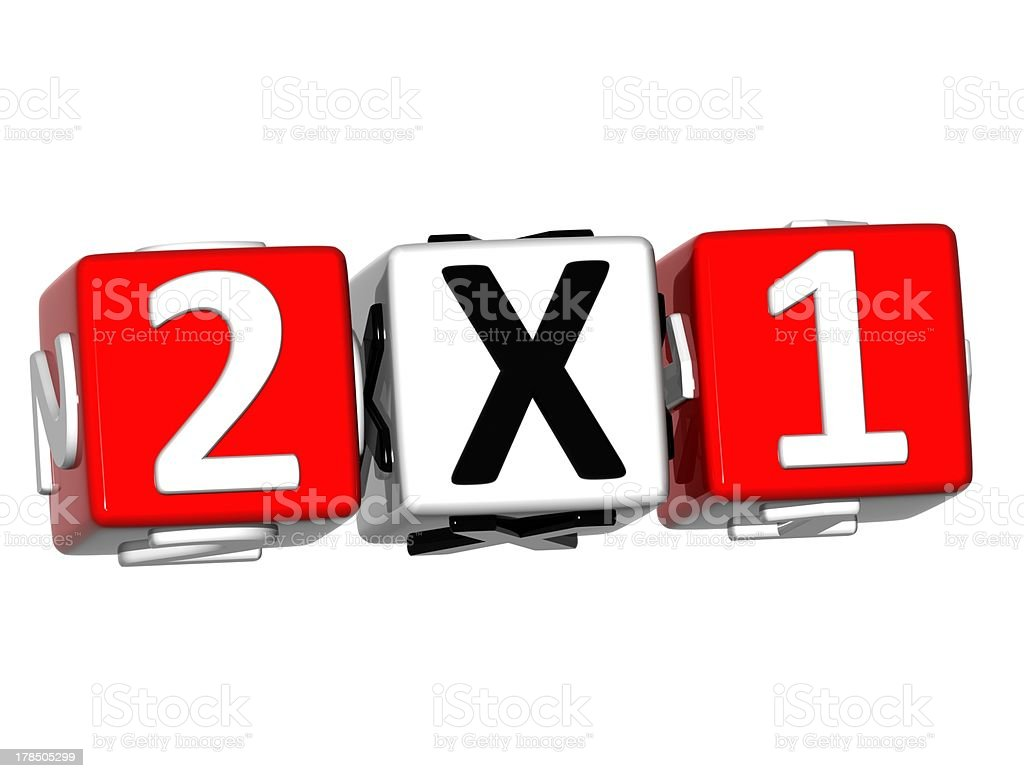 3D Two For One Button Click Here Block Text stock photo