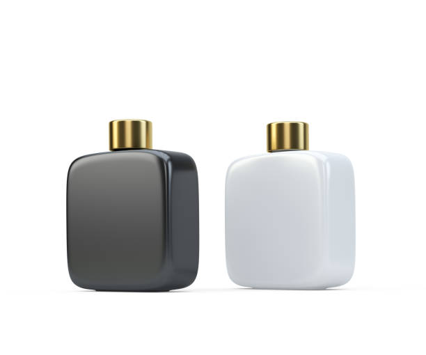 two fragrance perfume bottles mockup - gold tooth stock photos and pictures