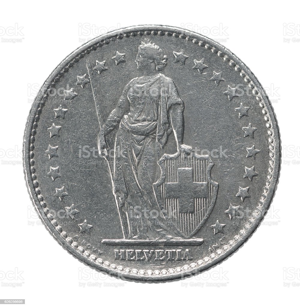 two francs coin stock photo
