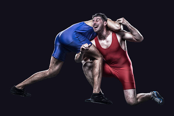 two freestyle wrestlers in action - wrestling stock photos and pictures
