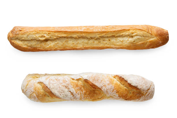 Two french baguettes isolated at white stock photo