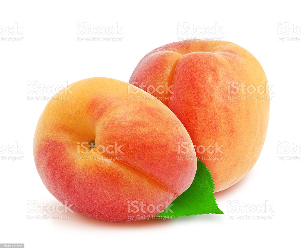 Two fresh apricots and leaves stock photo