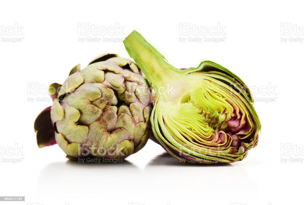 Two fresh artichokes stock photo
