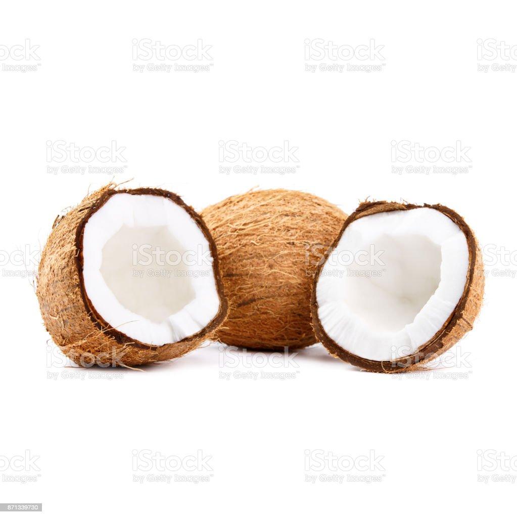 Dois cocos frescos isolados no fundo branco - foto de acervo