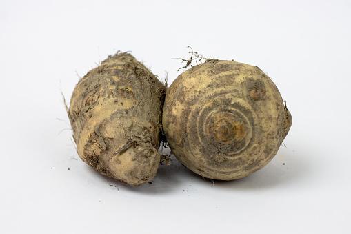 Two fresh organic jerusalem artichoke close up isolated on white background