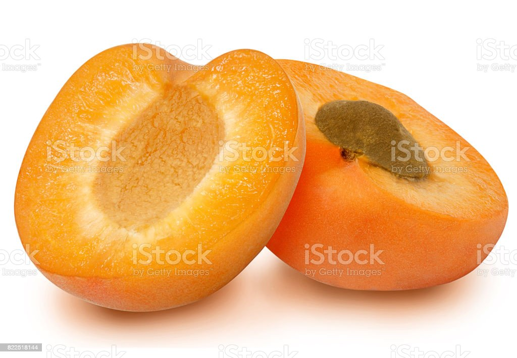Two fresh slices apricot stock photo