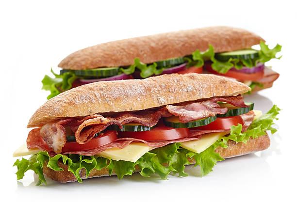 Two fresh submarine sandwiches stock photo