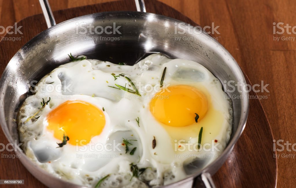 Two fried eggs stock photo