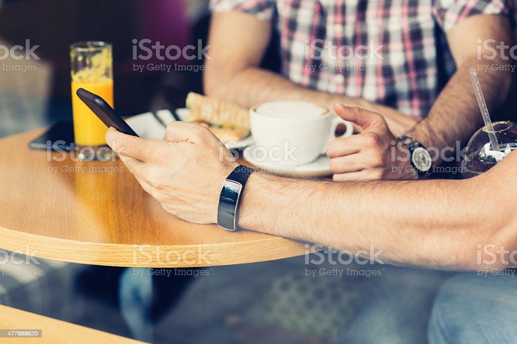 Two friends breakfast stock photo