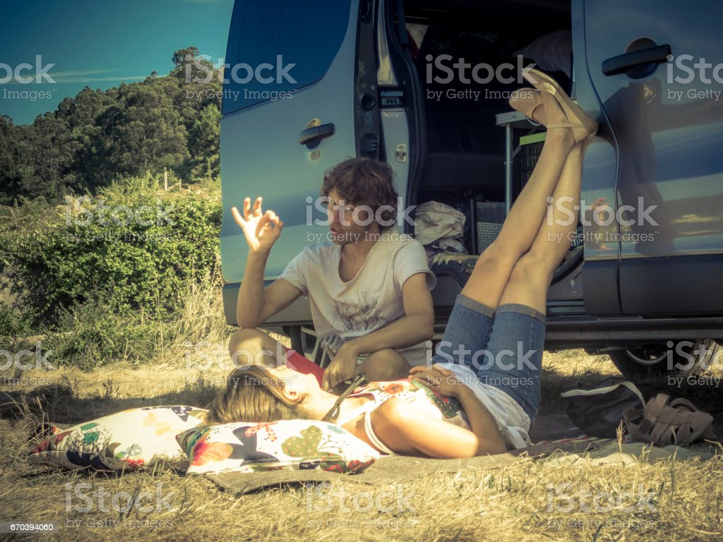 Two Friends Camping stock photo