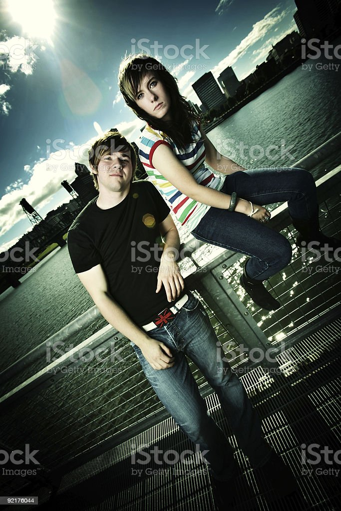 Two Friends Downtown at the Waterfront royalty-free stock photo