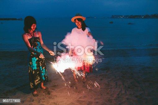 471113366istockphoto Two Friends Enjoying Fireworks 953727900