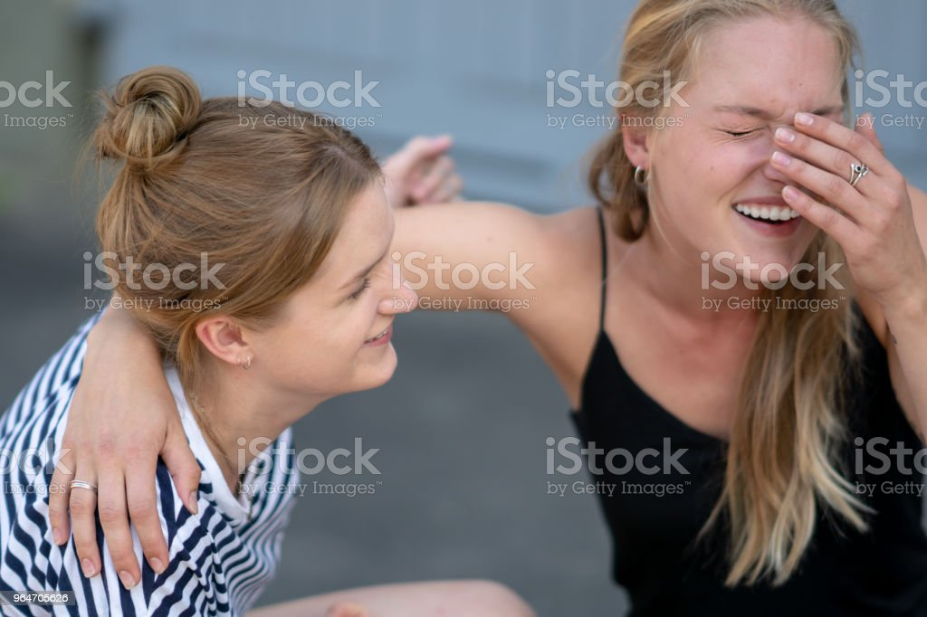 Two friends enjoying time together royalty-free stock photo