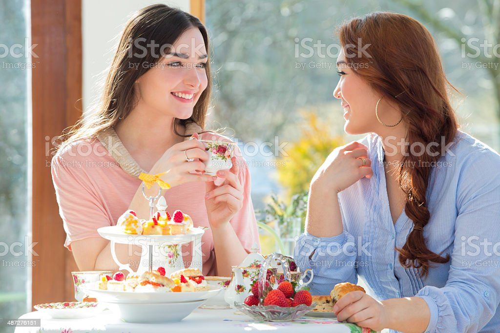 Two Friends Having Afternoon Tea stock photo
