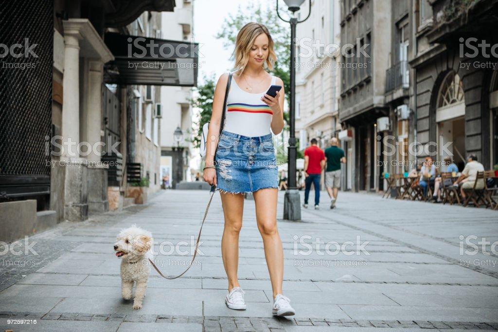 Two friends in relaxing walk stock photo