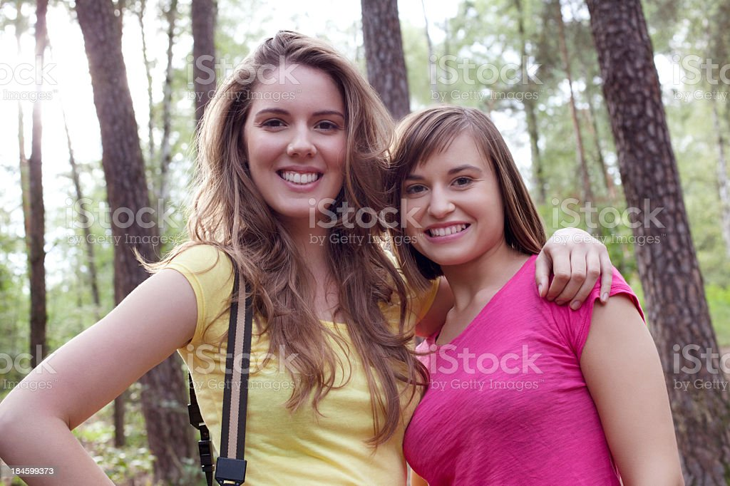 Two friends in the forest royalty-free stock photo