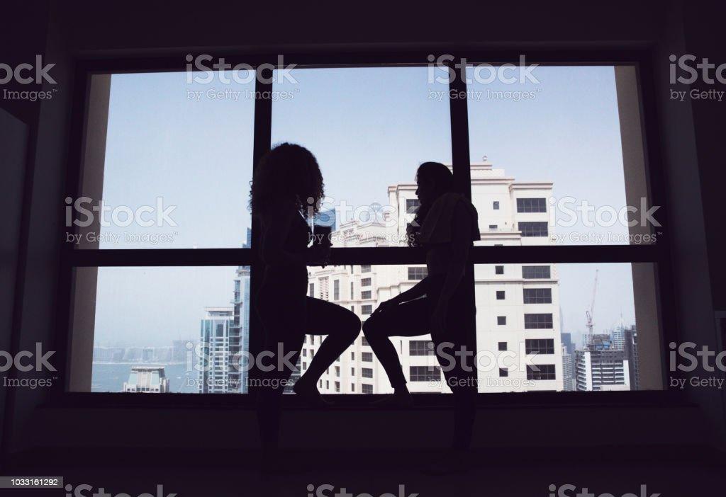 Silhouette, Healthy Lifestyle, Friendship - Friends taking a break...