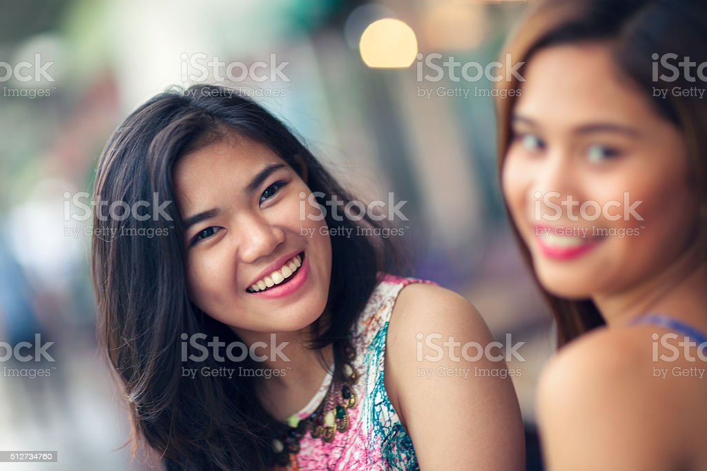 Two friends out having fun stock photo