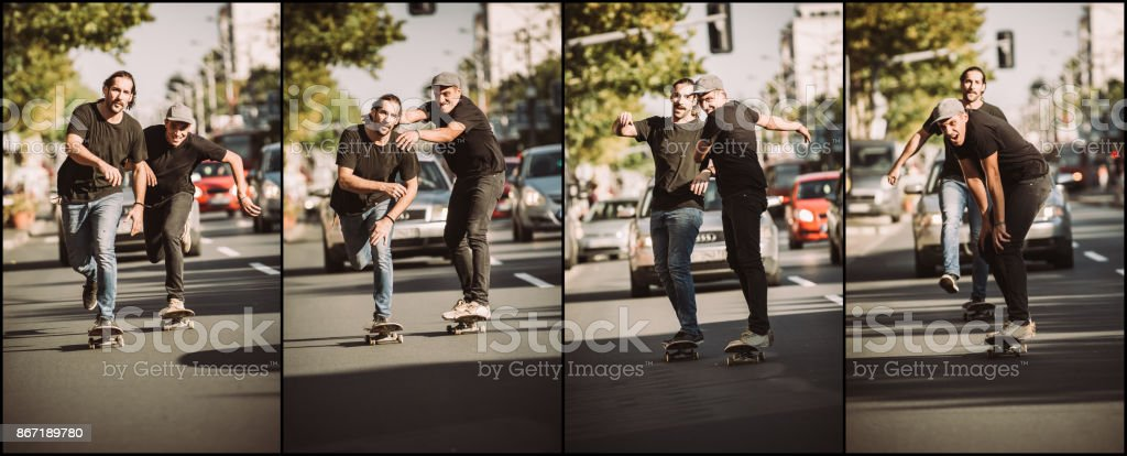 two friends skateboarders riding skate sequence free ride