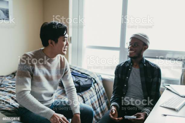 Two friends talking in a dorm room picture id652270816?b=1&k=6&m=652270816&s=612x612&h=2hm9o2nmvotjh2pcn1hpbbfnc9qki9 g7mgpn gjjle=