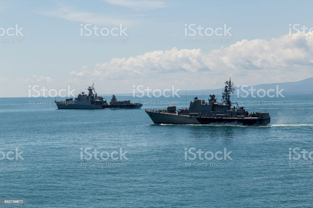 two frigates at sea, performing tasks and protect maritime borders stock photo