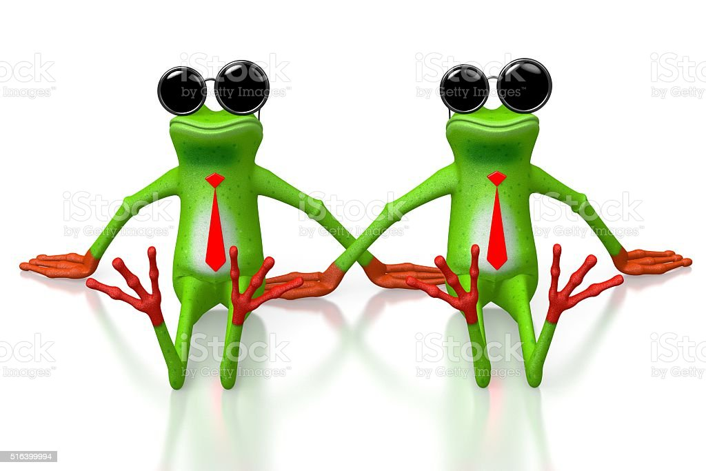 3D two frogs concept stock photo